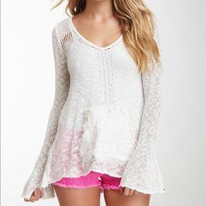 Billabong White Knit Bell Sleeve Sweater sz M